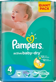 Pampers Active Baby Dry 4 Maxi 76ks (9-14kg)