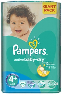 Pampers Active Baby Dry 4 Maxi+ 70ks (10-15kg)